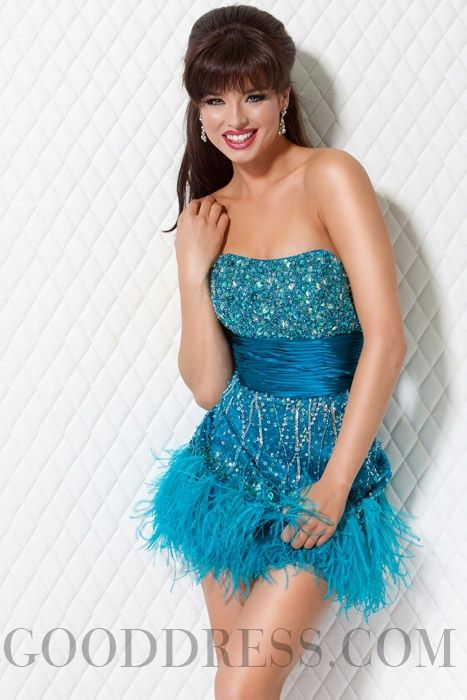 Sheath / Column Strapless Beading Elastic Woven Satin Homecoming Dresses