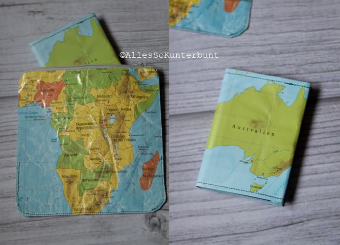 AllesSoKunterbunt: DIY | Reisepasshülle und Täschchen aus einer alten Landkarte