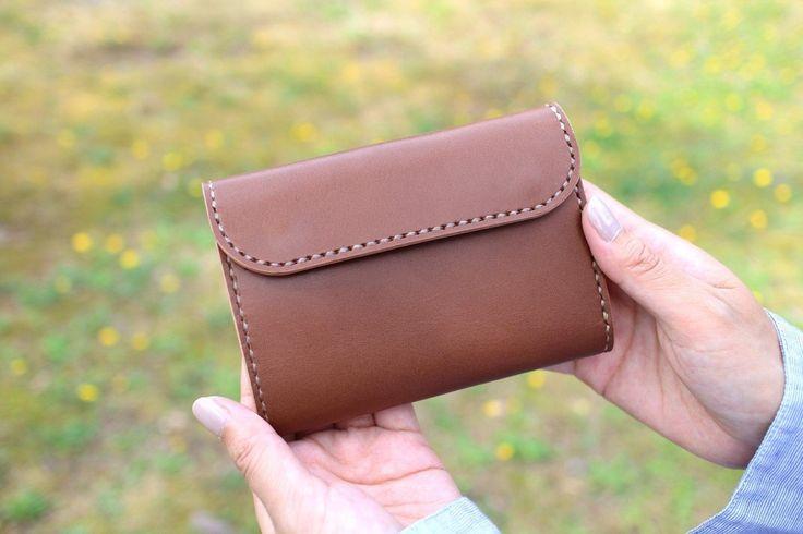 【即納品】三つ折り財布 ~栃木アニリン茶×栃木サドル~