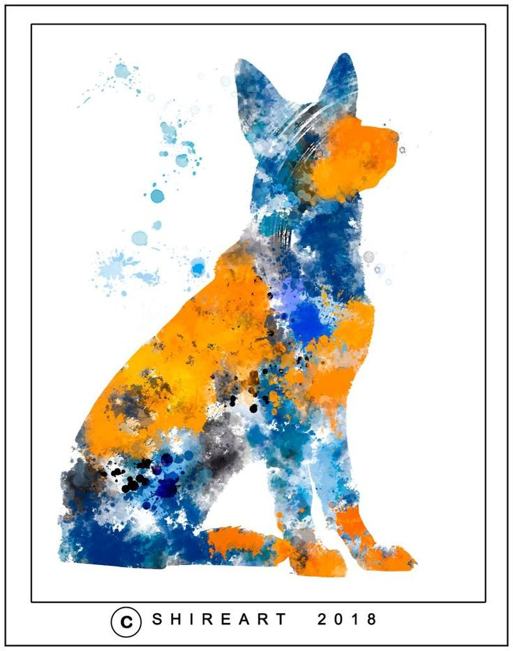 Alsatian Dog - Abstract Watercolour Poster