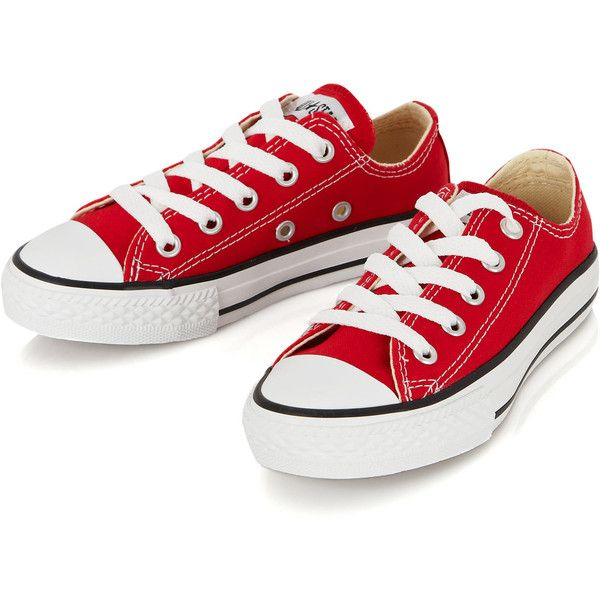 Converse Kids Red Chuck Taylor All Star Low Trainers ($12) ❤ liked on Polyvore featuring shoes and trampki