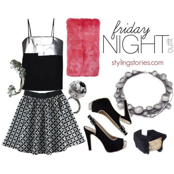 Friday Night outfit - Women's outfits for Girls Night Out  #fridaynight #outfit #women  #nightout #style #fashion  #stylish  #style  #must #kattyxiomara #morecco #necklace #ring #liagonçalves #naevegan #Pumps #peeptoe #earrings #earcuff #bracelets #black #blackandsilver #fur #Silver #skirt #PolyvoreMostStylish #polyvore #polyvoreeditorial