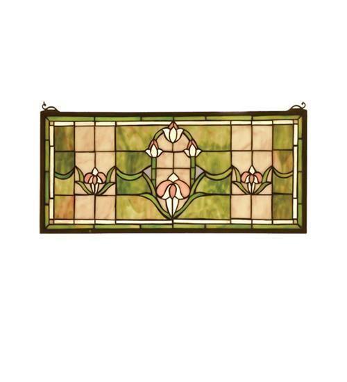 Meyda Tiffany 98463 Tulips Transom Stained Glass Window