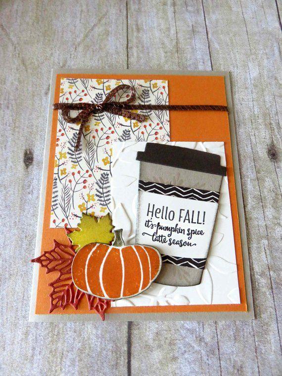 Birthday Card  Autumn  Pumpkin  Card  Congratulations Card  Congratulations  Birthday  Coffee