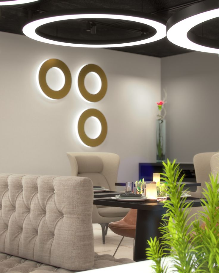 Multifunctional restaurant, lobby, working space in hotel Mooons in Vienna we visualized for Moser Architects.
