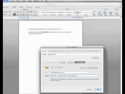 How to create email hyperlinks in Word 2011