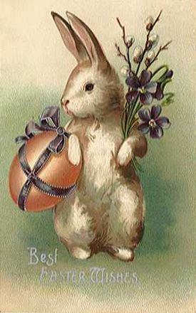 Rabbit with easter egg, pussy willows and basket, vintage easter clip art