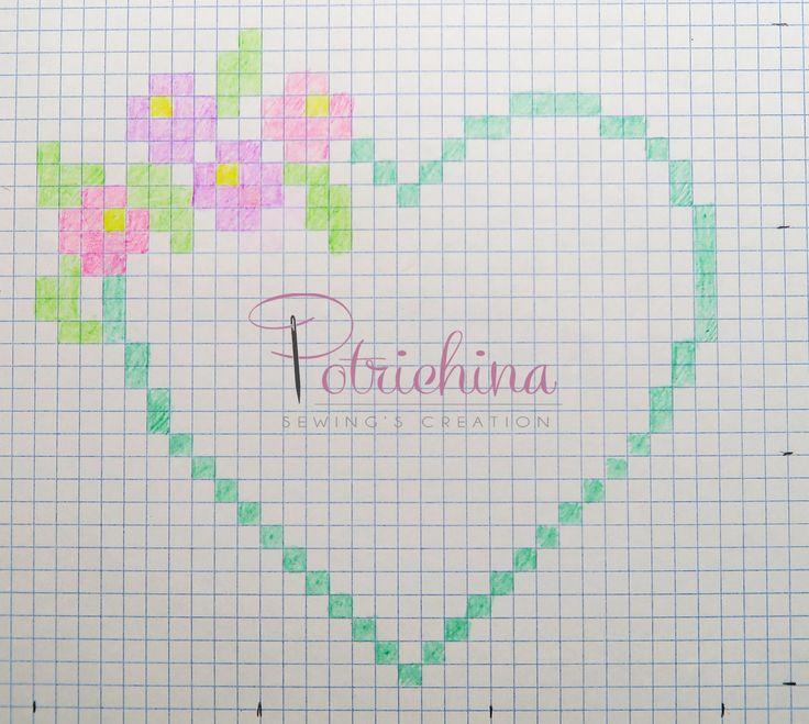 cuore con fiori per bomboniere - schema punto croce