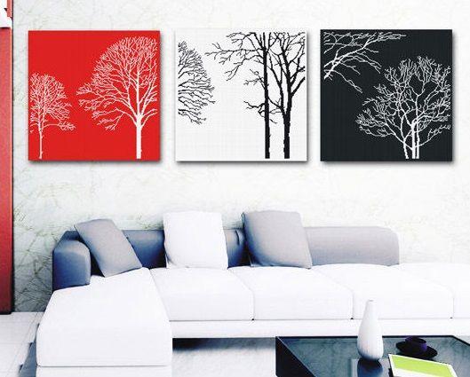 Вышивка-Триптих Деревья (Spring)
