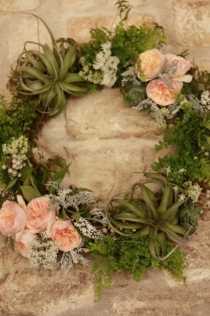 WOW! Loving this wreath of flowers, greenery and tillandsias. This would be gorgeous to do on the door of an indoor wedding venue!