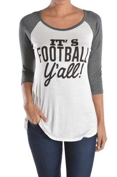 Lovely Souls Football Y'all Baseball Tee for Women T6593-FOOTBALL