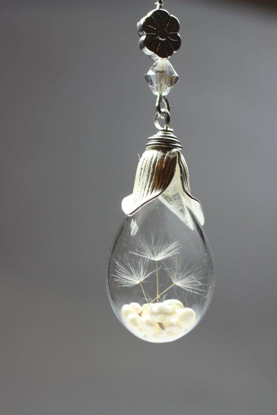 SALE Dandelion Seed Necklace, Wish Necklace, Dandelion Necklace, Real Flower Jewelry, Natural Jewelry, Glass Bottle Necklace, Glass Teardrop on Etsy, $25.00