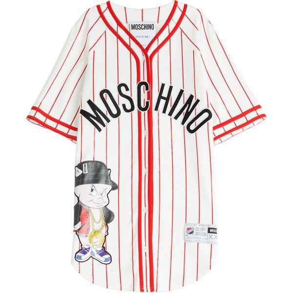Moschino Baseball Jersey T-Shirt Dress ($1,100) ❤ liked on Polyvore featuring dresses, shirts, tops, robe, multicolor, baseball jersey dress, v neck t shirt dress, comic book, tshirt dress and oversized t shirt dress