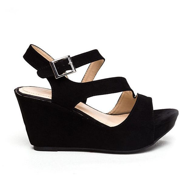 On A Diagonal Strappy Platform Wedges BLACK ($28) ❤ liked on Polyvore featuring shoes, sandals, black, slingback wedge sandals, black slingback sandals, ankle strap wedge sandals, toe-strap sandals and black wedge shoes