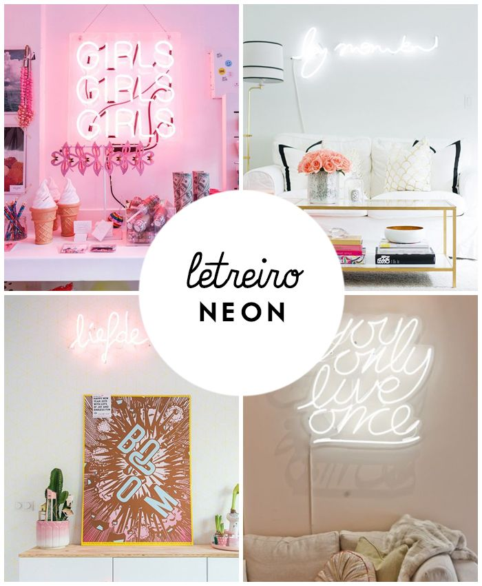 decorao com letreiro luminoso neon