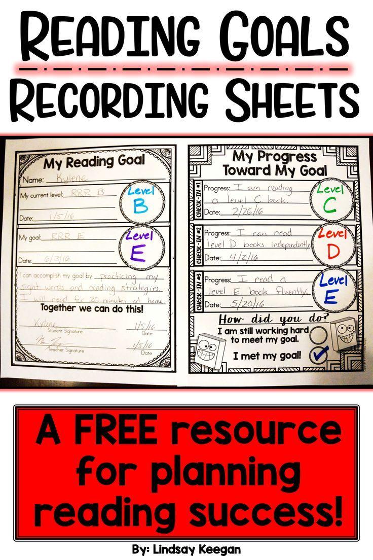 Reading Goals Recording Sheets Free Reading Goals Classroom Reading Goals First Grade Reading [ 1104 x 736 Pixel ]