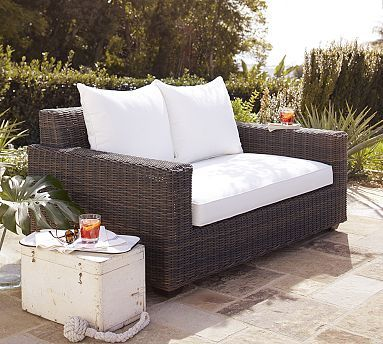 Torrey All-Weather Wicker Square Arm Sofa #potterybarn