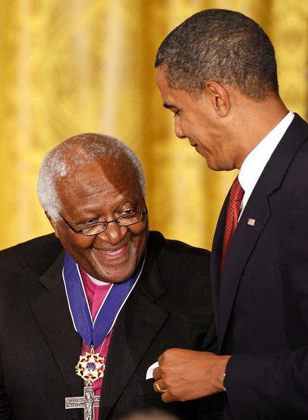 "Global Peace Icon | Archbishop Emeritus Desmond Tutu pictured with U.S. President Barack Obama, who describes him as a ""moral titan""."