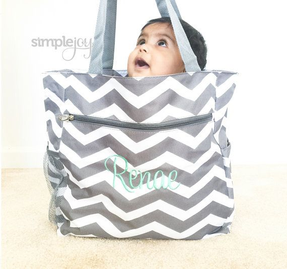 Chevron Diaper Bag Gray Diaper Bag Multipurpose by ShopSimpleJoy