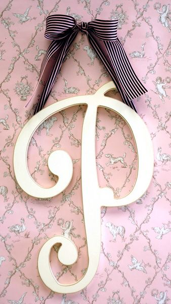 "Cursive Wooden Hanging Letter 9""   You can get in pink and pick any ribbon"