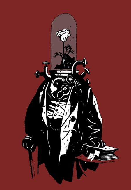 Mike Mignola flower headed typewriter man.