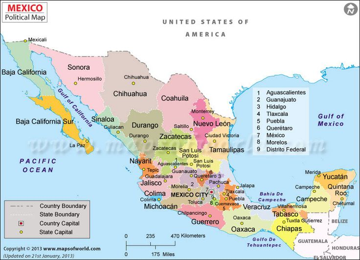 Here is a map of Mexico with it's cities and it's capital.