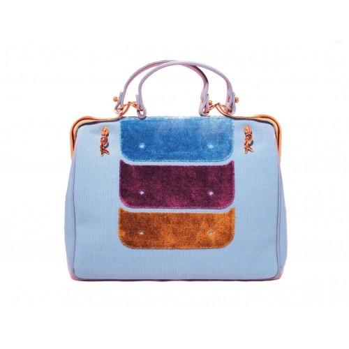 Blue Canvas Satchel Bag by Roberta Di Camerino