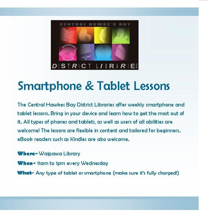 The CHB Libraries are currently running Smartphone Lessons. Come in and learn how to use your smartphone!