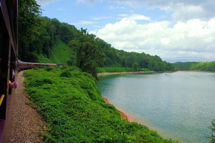 Great Smoky Mountains Railroad train excursion by Fontana Lake in North Carolina