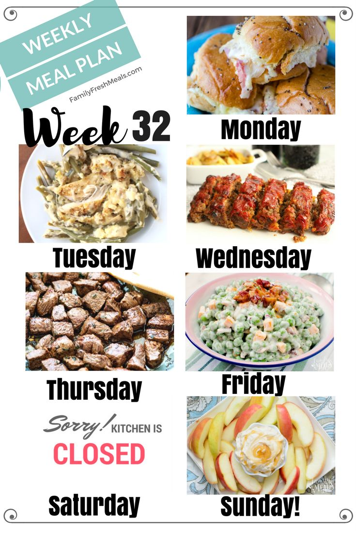 Easy weekly meal plan week 32. There are a lot of yummy recipes for you to try out this week! I hope this helps you meal plan!