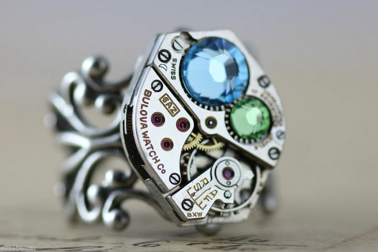 Steampunk Ring Aquamarine Peridot March August Cocktail Birthstone Ring