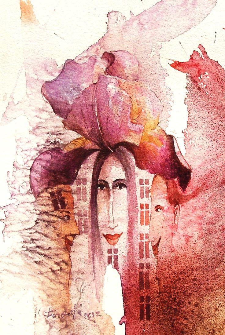 Iris Ladies, watercolour Krzysztof Lozowski