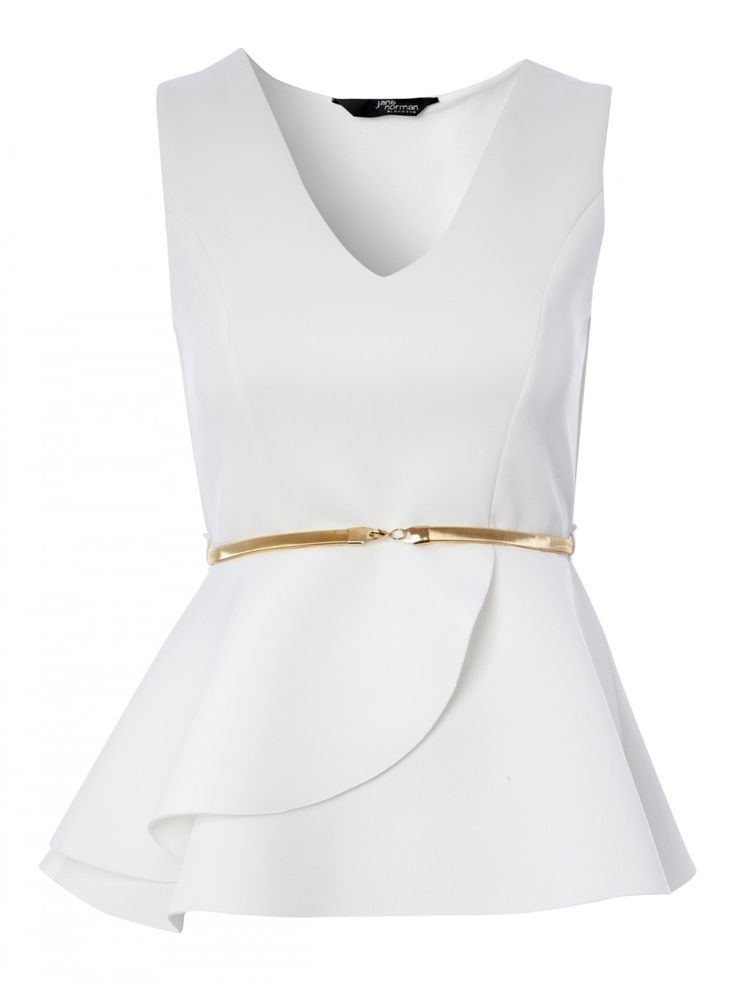 White is still looking so right for this season. This sleek peplum top features a v-neck, wrap detail peplum and metal gold belt. Work it with a figure huggi...