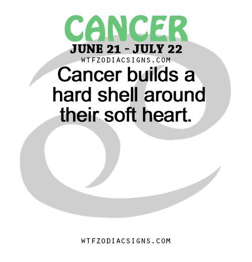 Cancer Zodiac Sign ♋ builds a hard shell around their soft heart.