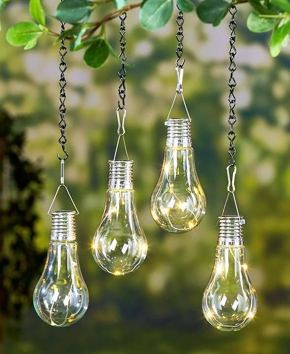 Set Of 2 Led Hanging Solar Lights Tree Deck Porch Patio Outdoor Lighting Decor Hanging Solar Lights Solar Lights Outdoor Hanging Lights