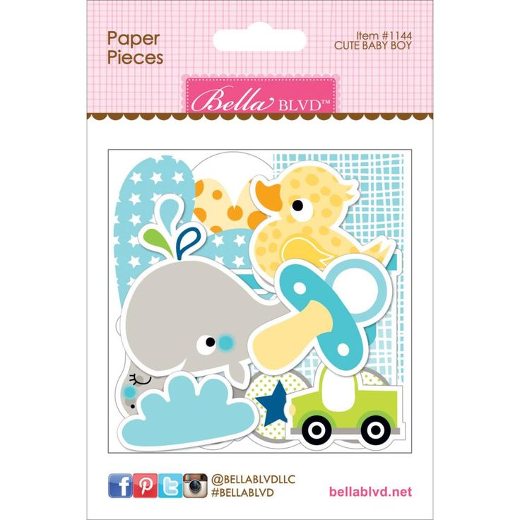 Scrapbookdepot - Bella Blvd Cute Baby Boy Paper Pieces Cardstock Die-Cuts