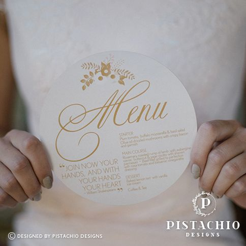 Circular menu by www.pistachiodesigns.co.za