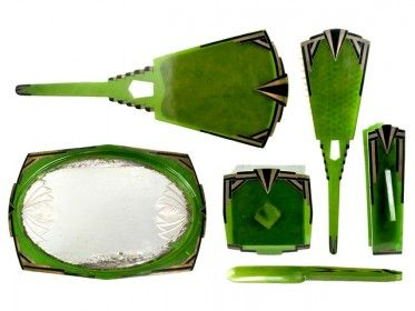 in love.  vintage green art deco vanity set
