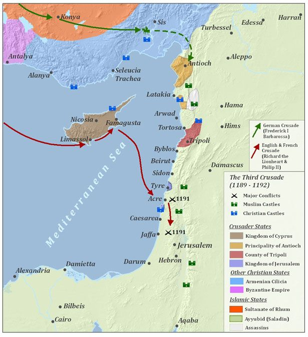 A map that shows the conflicts and forces of the third crusades