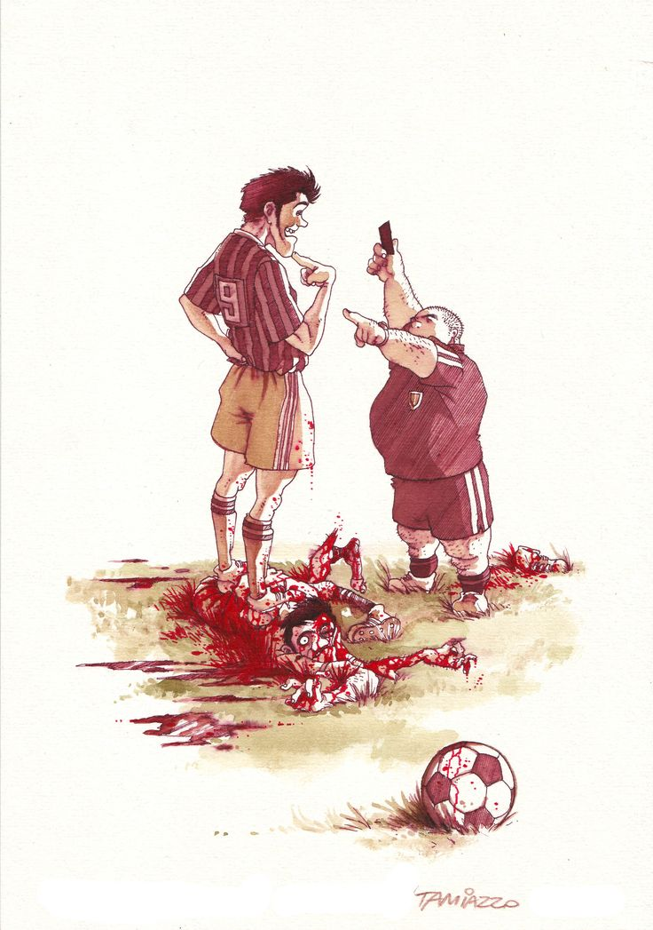 """""""Fair play ehm""""  Watercolors and red ink #stefanotamiazzo #soccer #fairplay #calcio #cartoon #illustration"""