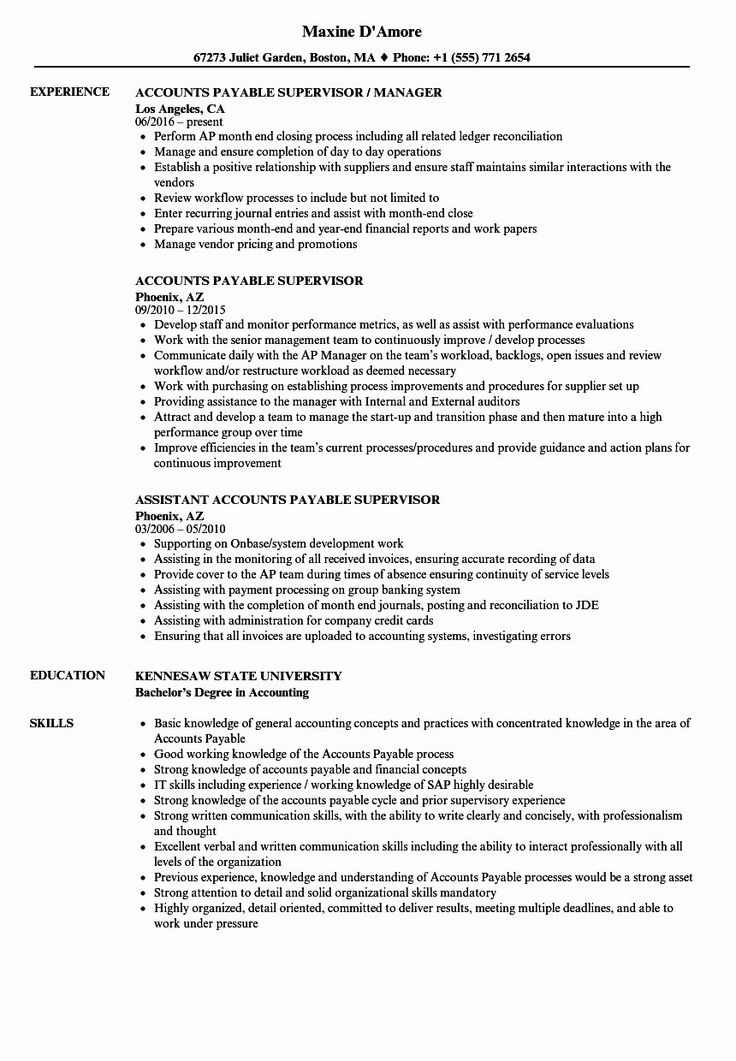 Accounts Payable Resume Example Inspirational Accounts