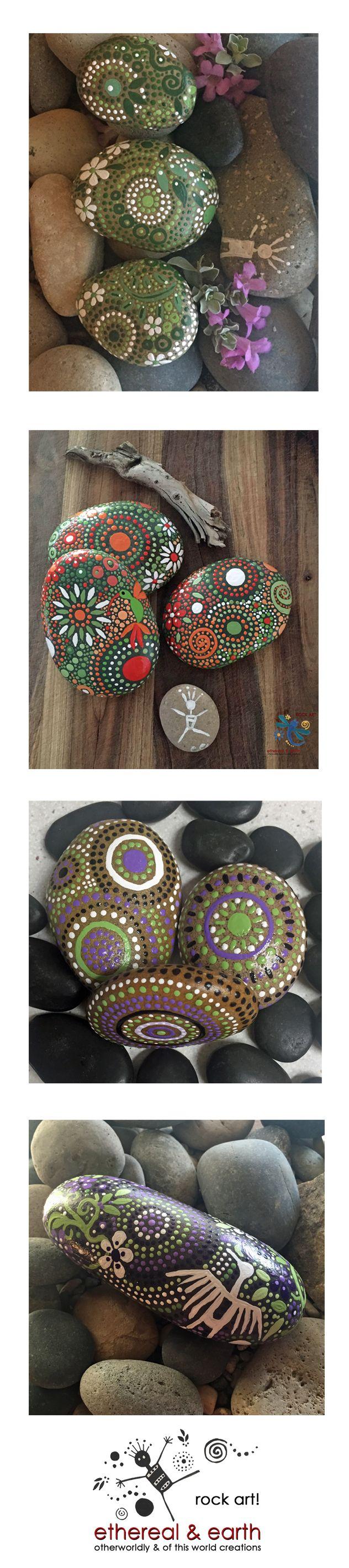 Green Hand Painted Stones - Natural Home Decor - Mandala Inspired Designs - Tribal Art - Rock Art - Garden Art - Free US Shipping - ethereal & earth