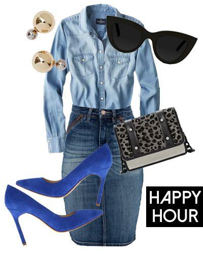 1 Denim Pencil Skirt, 3 Ways: Happy Hour