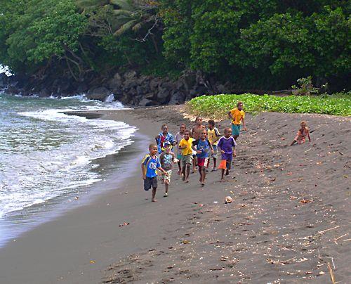 Far Flung Places Vanuatu Children on a beach in Paama
