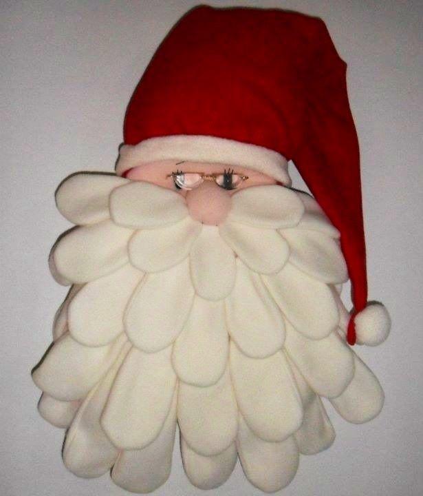 Cara de Noel en paño lency y barbas en pétalos de Flix.