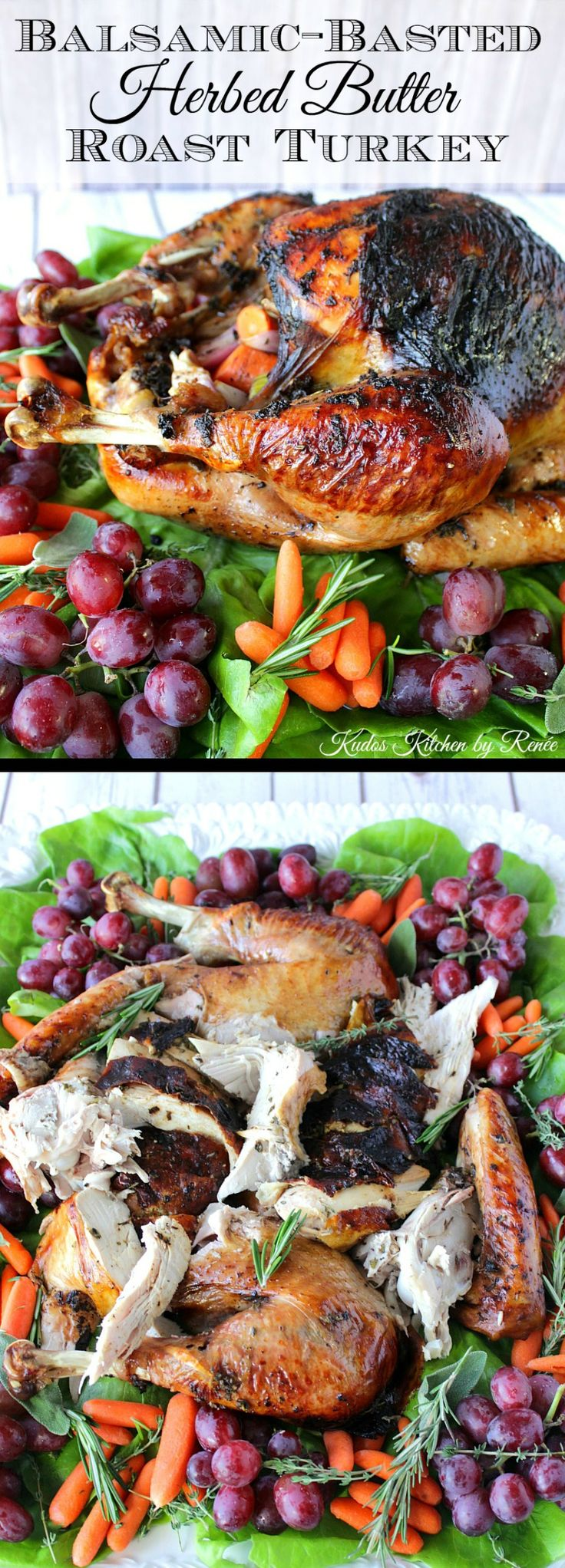 This easy to make Balsamic-Basted Herbed Butter Roast Turkey will be the most succulent, moist and flavorful turkey you've ever made. You have my word on it! - Kudos Kitchen by Renee - www.kudoskitchenbyrenee.com