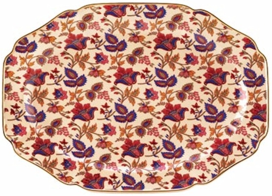 Cream Jaipur Serving Platter...  Vibrant patterns of garnet, sapphire and cream turn any occasion into a royal feast! This classic gold-rimmed serving tray is an appealing way to serve your guests in true Far Eastern style and grace. Ceramic.  Hand Wash. SALE $52.