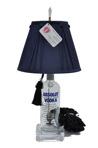Absolut Vodka Lamp. This website lets you create a lamp out of your favorite beverages! I'm kind of obsessed. They're such high quality and make the perfect gift!