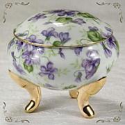 Elegant Porcelain Hand Painted Violets Gild-ed Gold Leaf Pedestal Foot Trinket Box