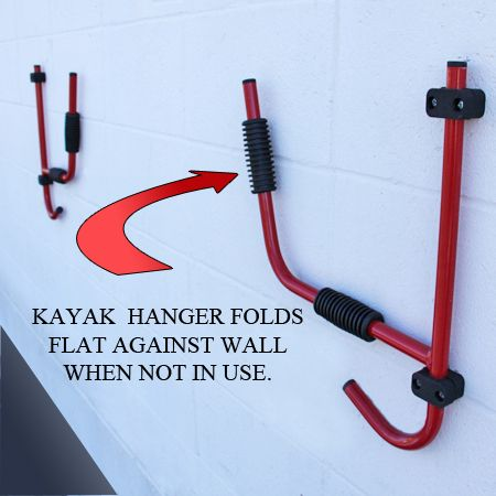 The J-Hook Kayak Hanger from Surf to Summit includes two collapsible wall hangers which will take up minimal space when not in use. Constructed out of quality steel, the upper cradle arms have rubberized contact points to keep your kayak safely protected.